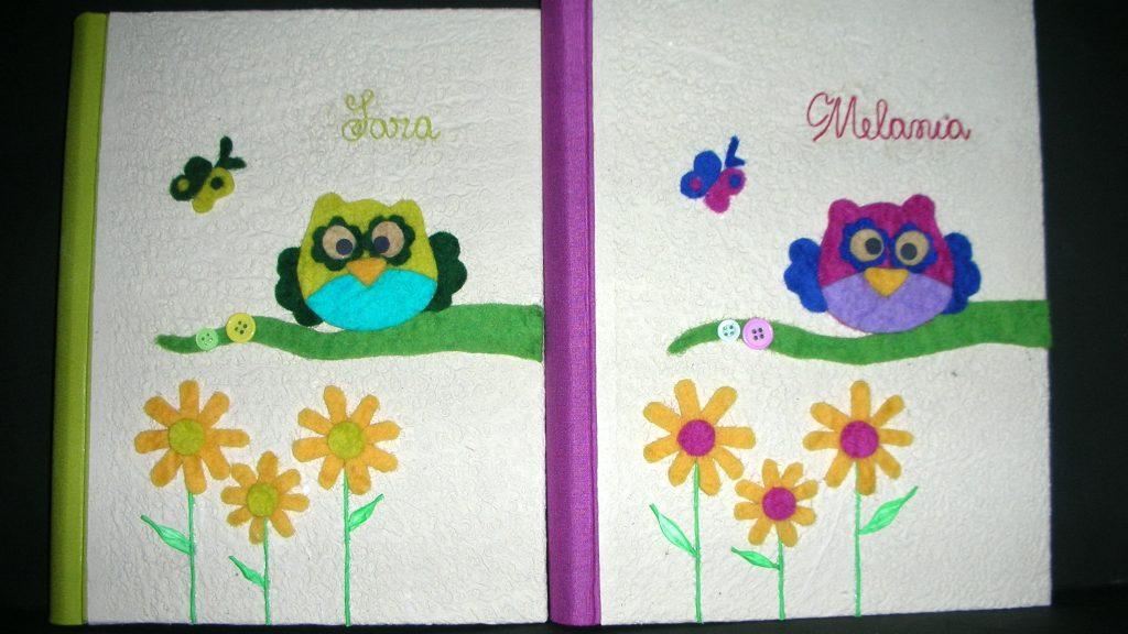 Album foto per bambini con gufetti portafortuna in feltro