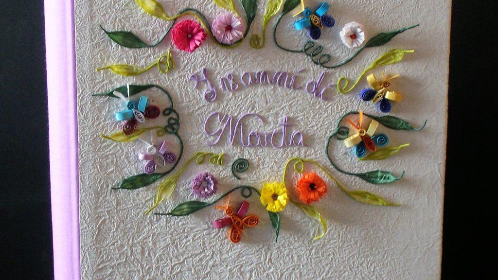 album foto cornice fiori e farfalle quilling per eventi